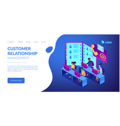 Contact center isometric 3d landing page vector