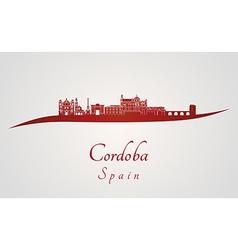 Cordoba skyline in red vector image
