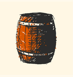 Craft beer wooden barrel pub sketch vector