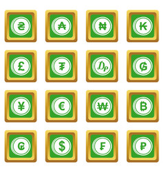 currency from different countries icons set green vector image