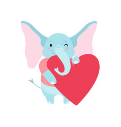 Cute elephant holding big red heart funny animal vector