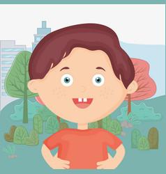 cute little boy in city park kids toys vector image