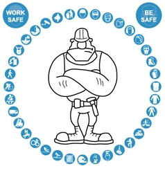 Cyan circular Health and Safety Icon collection vector image