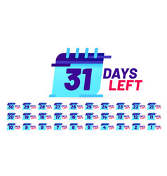 days number left badges countdown sticker design vector image