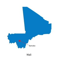 Detailed map of Mali and capital city Bamako vector