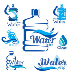 drinking clean water delivery set of emblems vector image