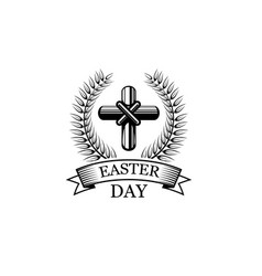 Easter day crucifix religious holiday icon vector