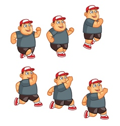 Fat boy jumping sprite vector