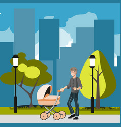 father with stroller in the city vector image