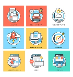 Flat Color Line Design Concepts Icons 8 vector