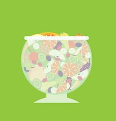 Flat fruit salad template vector