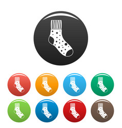 fluffy sock icons set color vector image