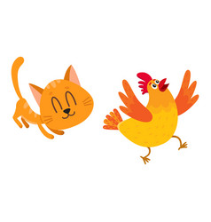 funny red cat kitten character chasing playing vector image