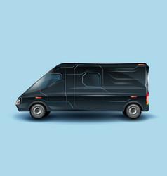 Futuristic commercial minibus realistic vector