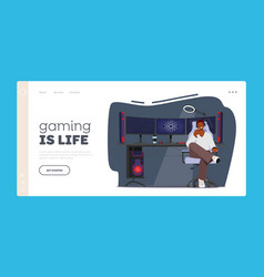 Gaming is life landing page template african vector