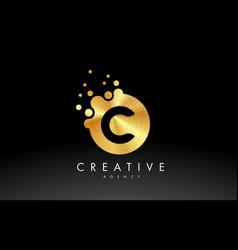Gold metal letter c logo c letter design vector