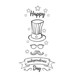 Greeting card independence day hand draw vector