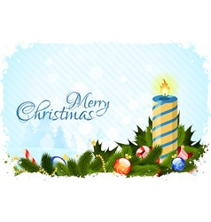 Grungy Christmas Card with Decorations vector image