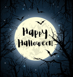 halloween greeting card with full moon vector image