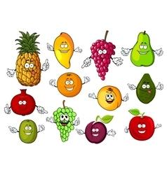 Happy cartoon fresh tropical fruits vector