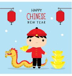 happy chinese new year children boy cartoon vector image