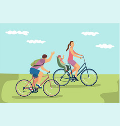 happy family riding bikes vector image