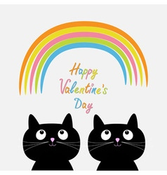 Happy Valentines Day Love card Rainbow and pink vector image