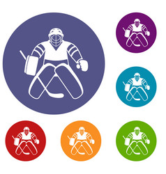 Hockey goalkeeper icons set vector