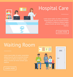 Hospital care and waiting room vector