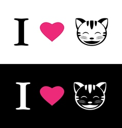 I love cat symbolic message vector