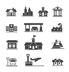 icons set of places and location vector image
