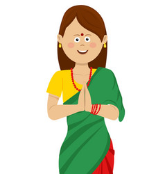 indian woman wearing traditional beautiful saree vector image