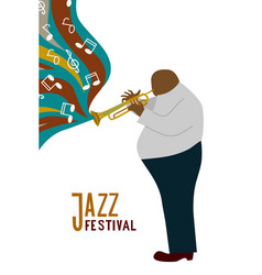 isolated black fat man playing trombone cartoon vector image