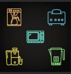 Kitchen smart gadgets icon collection in neon vector
