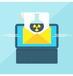 Laptop with envelope toxic vector