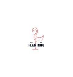 Letter f flamingo logo design vector