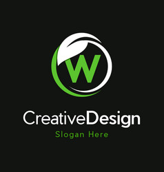 Letter w circle leaf creative business logo vector