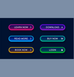 Neon abstract buttons for website vector