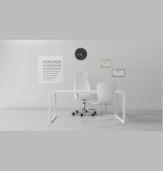 oculist office empty optometrist cabinet interior vector image