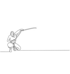 one continuous line drawing young brave vector image