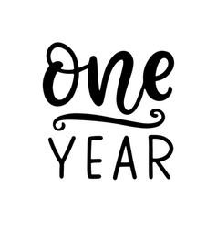 One year baby shower newborn age marker vector