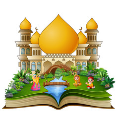 open a book with happy muslims families in front o vector image