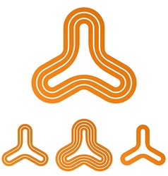 Orange line triangle logo design set vector
