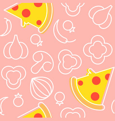 pizza and ingredients seamless pattern outline vector image