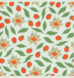 Seamless pattern of ashwagandha vector