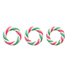 Set candy cane circle frames swirl hard candy vector