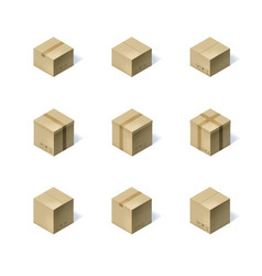Set of nine isometric cardboard boxes isolated on vector