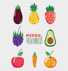 Set of pixelated natural food vector