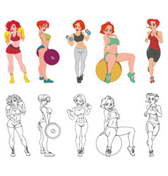 Set of sports fitness girls involved in sports vector