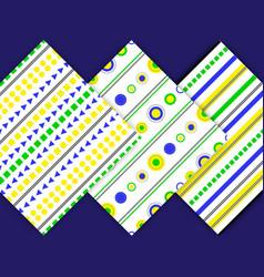 set-pattern-yellow-blue-green vector image